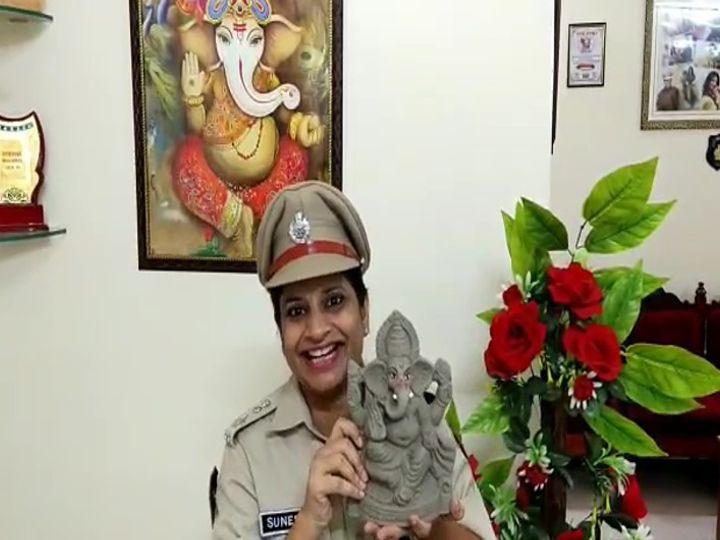 महिला पुलिस ने Eco Friendly गणेश प्रतिमा बना दिया पर्यावरण को हरा भरा बनाने का संदेश